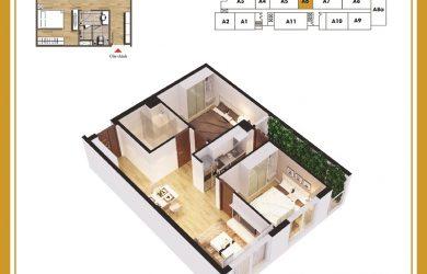 Mặt bằng Căn 2 ngủ chung cư ban Cơ yếu Chính Phủ mới nhất